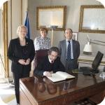 Il Rettore Lida Viganoni e i Prorettori Elda Morlicchio e Giuseppe Cataldi con Riccardo Muti