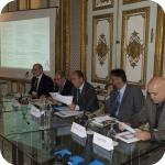 Il tavolo dei relatori, da sin. Agostino Cilardo, Luigi Serra, Giuseppe Cataldi, Abdulrahman Al-Salimi, Roberto Tottoli