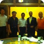 Pechino, cena con le autorità accademiche della BFSU: da sin., Y. Jianguo, W. Jun, X. Yi Yang, C. Vecce e G. Jiayun