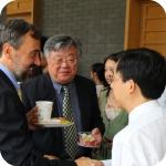 Una pausa del convegno con Wang Jun e il prorettore Sun