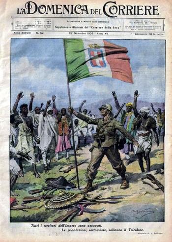 """Copertina de """"La domenica del Corriere"""" del 27 dicembre 1936 con cui  si celebra la vittoria italiana della guerra d'Etiopia"""