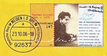 Francobollo dedicato alla pensatrice tedesca