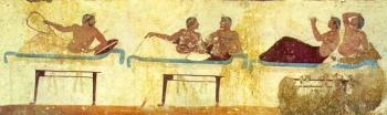 Scena tratta dalla Tomba del tuffatore (Museo Archeologico Nazionale di Paestum)
