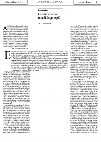 L'articolo pubblicato il 6 febbraio sulla Repubblica - Napoli