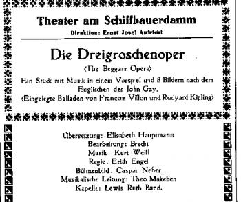 Particolare delle locandina della prima di Die Dreigroschenoper al Teatro Schiffbauerdamm di Berlino, il 31 agosto del 1928
