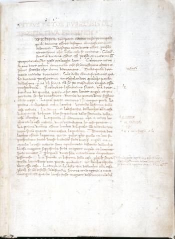 Pagina del Manoscritto del De perspectiva pingendi di Piero della Francesca (Biblioteca Digitale Reggiana)