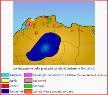Distribuzione delle lingue berbere - Fonte: Wikipedia