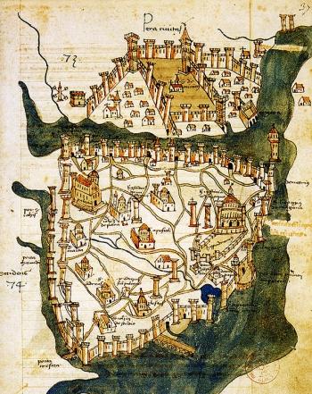 Mappa di Constantinopoli, 1422, Cristoforo Buondelmonti